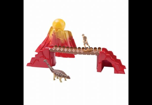 Prehistoric Adventure: Ankylosaurus, Ranger, Bridge and Volcano with Boulder